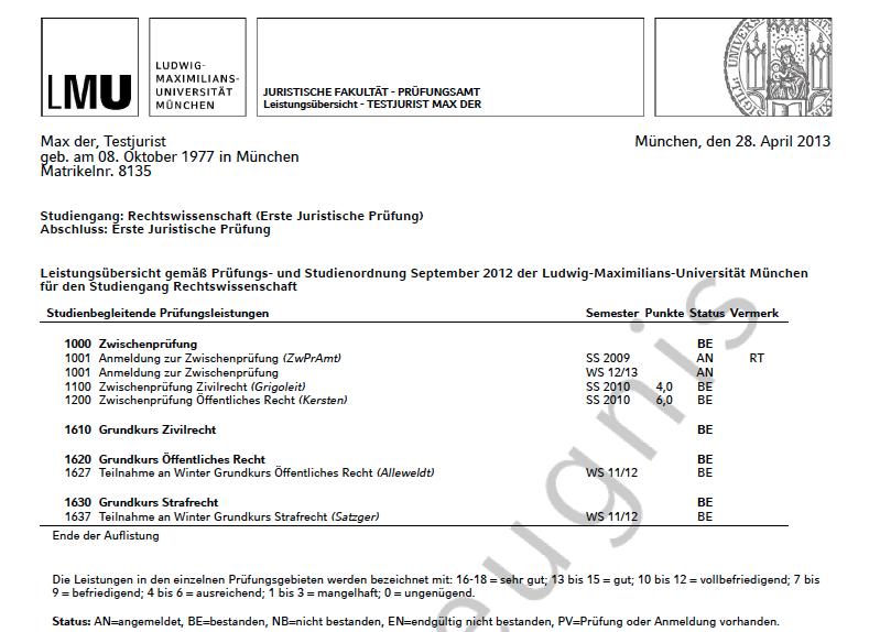 Noten abrufen - Fachschaftsinitiative Jura - LMU München